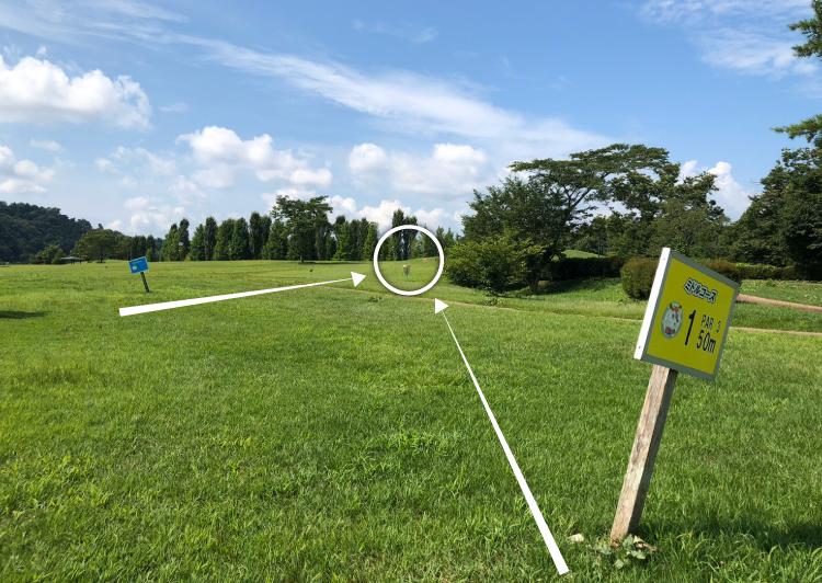 国営みちのく杜の湖畔公園北地区ディスクゴルフコース1番コース