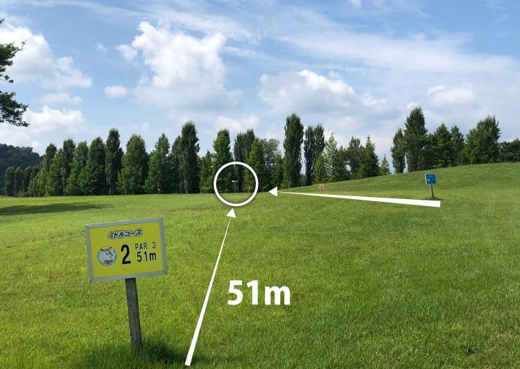 国営みちのく杜の湖畔公園北地区ディスクゴルフコース2番コース