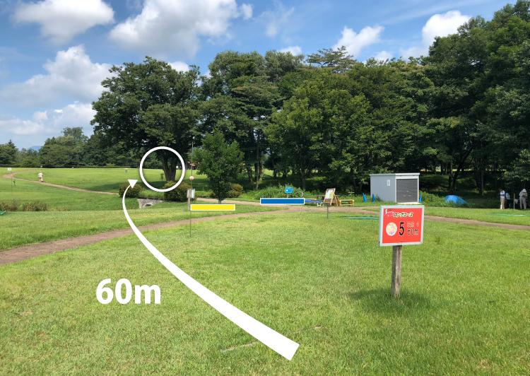 国営みちのく杜の湖畔公園北地区ディスクゴルフコース5番コース