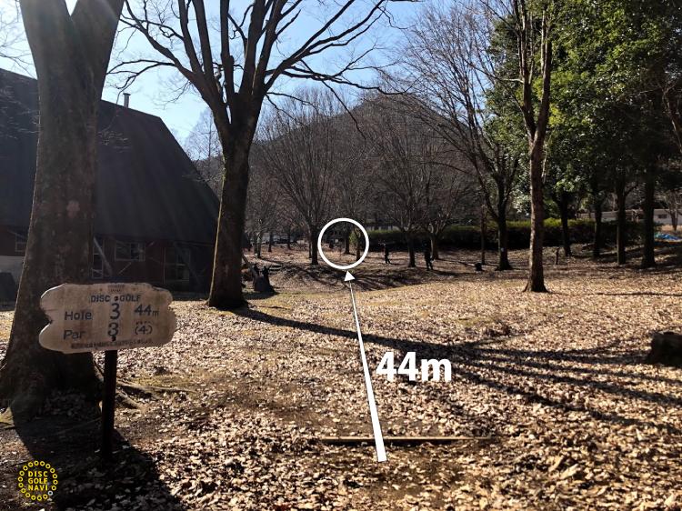 愛川ふれあいの村ディスクゴルフJPDGA公認コース3番ホール